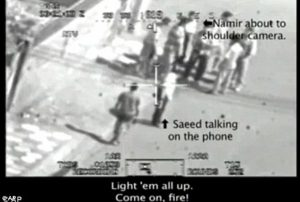 Video still from a Blackhawk helicopter camera