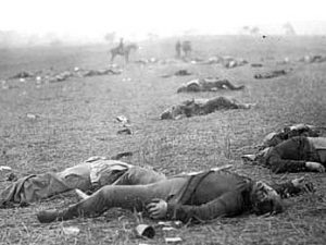 bodies on ground in WWII