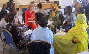 South Sudan NV Training Habiba in yellow in the gender fishbowl