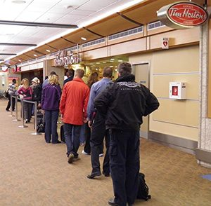 Lining up at Tim Hortons