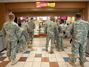 Lining up at Tim Hortons in Kandahar