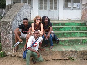 Lee with hosts in Congo