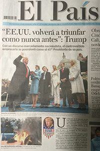 El Pais cover issue of the inauguration of Donald Trump