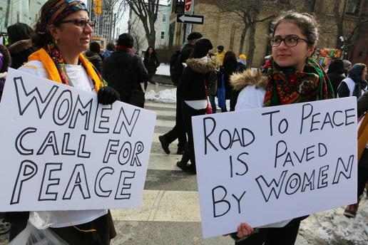 Womens March signs: Women call for Peach, Road to Peace is paved by women